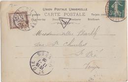 CP (Casino De Médina) Obl. Gevrey Chammbertin Le 16/7/08 Sur 5c Semeuse + Taxe 10c Pour St Dié - 1906-38 Semeuse Con Cameo