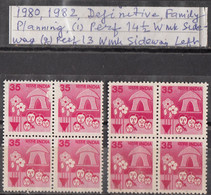 INDIA  1980 1982  6th Definitive Series, 35p, FAMILY WELFARE, Two  Perforation Varieties Blocks Of 4, MNH(**) - Ungebraucht