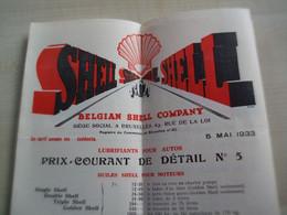 Tarifs Anciens  1933 BELGIAN SHELL COMPANY   BRUXELLES - 1900 – 1949