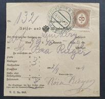 Österreich 1904, Aufgabe-Schein WITKOWITZ In MÄHREN - Covers & Documents