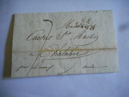 LAC 1818 LYON Pour CHALABRE AUDE TAXE 7 DECIMES GRIFFE LINEAIRE - 1801-1848: Precursori XIX