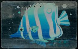 JAPAN 1989 PHONECARD FISH SILVER CARD USED VF!! - Pesci