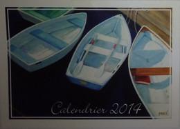 Petit Calendrier De Poche 2014 APBP Barques En Vedette  Peint Avec La Bouche - Artiste Peintre - Small : 2001-...
