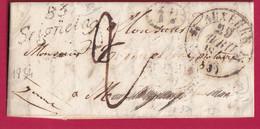 CURSIVE 83 SEIGNELAY YONNE 1834 DECIME RURAL CAD TYPE 12 AUXERRE INDICE 9 - 1801-1848: Precursori XIX