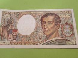 Billet De Banque Ancien/ MONTESQUIEU/ 200 Francs/N°872870/ C.095/1990          BILL211 - 200 F 1981-1994 ''Montesquieu''