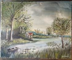 Maison Sur Une Petite Baie Avec Un Bateau à Rames Sur L'eau/ House On A Small Bay With Rowing Boat On The Water - Olii