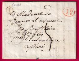 CAD TYPE 12 CROISSANVILLE CALVADOS BOITE RURALE I CANON 1840 + DECIME RURAL TAXE TAMPON 5 POUR PARIS - 1801-1848: Precursori XIX