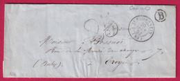 CAD TYPE 15 ST FLORENTIN YONNE BOITE RURALE B CHAILLEY POUR TROYES AUBE 1852 - 1801-1848: Precursori XIX