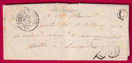 CAD TYPE 15 COMBEAU FONTAINE HAUTE SAONE BOITE RURALE C  ARBECEY POUR LANGRES - 1801-1848: Precursori XIX