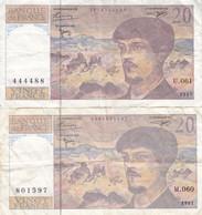 Lot De 2 Billets 20 F Debussy 1997 FAY 66ter.02 Alph. M.060 Et U.061 - 20 F 1980-1997 ''Debussy''
