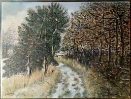Paysage : Bruyère, Arbres, Neige Ou Sable Blanc/ Landscape: Heath, Trees, Snow Or White Sand - Olii