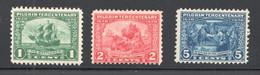 1920 Pilgrim Tercentenary  Sc 548-550 * MH - Unused Stamps
