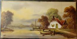 Paysage Avec Maison Au Bord De La Rivière Et Deux Bateaux, NDF/ Landscape With House By The River And Two Boats, NDF - Olii