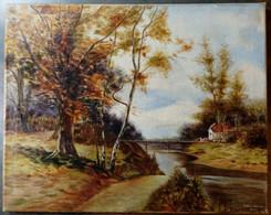 Paysage Avec Rivière, Passerelle, Maison, HW V. Sitten, 1943/ Landscape With River, Footbridge, House, HW V. Sitten - Olii
