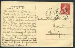 FRANCE - N° 160 / CPA D'ALGER LE 23/3/1924 POUR LA NORVEGE - TB & RARE DESTINATION - 1906-38 Semeuse Con Cameo