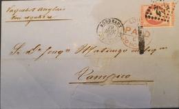 O) 1867 FRANCE, P.P. EMPEROR NAPOLEON III 80c, ENGLISH PAQUEBOT,  CIRCULATED TO TAMPICO, XF - 1863-1870 Napoléon III Con Laureles
