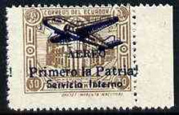 Ecuador 1930s Servicio Interno Opt On 30c Brown Unissued Official Stamp Without Gum With ! Instead Of Full Stop After Pa - Ecuador