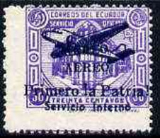 Ecuador 1930s Servicio Interno Opt On 30c Violet Unissued Official Stamp Without Gum With ! Instead Of Full Stop After P - Ecuador