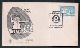 Argentine 1968 Sécurité Routière En Couverture Premier Jour D'émission - Accidentes Y Seguridad Vial
