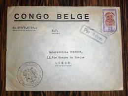 """Congo Belge / Lettre De Léopoldville Vers Liège (TP 292) / Cachet """"Inspection Générale Du Service D'hygiène * - 1947-60: Covers"""