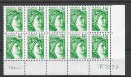 Bloc De 10 Coin Daté N° 1973 Sabine Du 6-12-78 Presse TD-6 - 1961-....