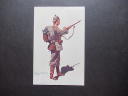 Feldpost 1.WK 1915 Künstler AK Alüschwitz Rotes Kreuz Infanterist 4. Garde Reg. Zu Fuß (Berlin) Felduniform - Equipment