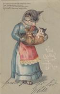 9840) Viel Glück Im Neuen Jahr - KATZEN Vermenschlicht MAMA KATZE In Kleid Trägt JUNG In KORB PRÄGE AK 1903 - Cats