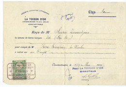 """Commercial Document - Société Anonyme Ottomane  ,,LA TOISON  D'OR"""" - Turkey, Constantinople,Istanbul,tax Stamp 1915 - Other"""