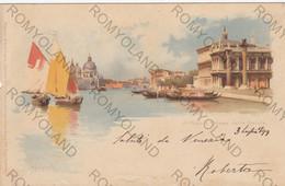 CARTOLINA  VENEZIA,VENETO,IL MOLO E CHIESA DELLA SALUTE,BELLA ITALIA,RELIGIONE,CULTURA,GONDOLE,STORIA,VIAGGIATA 1899 - Venezia