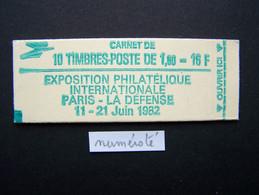 2155-C2 CONF. 3 CARNET NUMEROTE FERME 10 TIMBRES SABINE DE GANDON 1,60 ROUGE PHILEXFRANCE 82 - Standaardgebruik