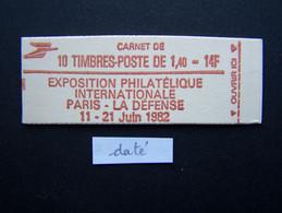 2102-C5a CONF. 6 CARNET DATE DU 31.7.80 FERME 10 TIMBRES SABINE DE GANDON 1,40 ROUGE PHILEXFRANCE 82 - Uso Corrente