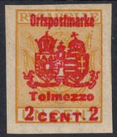 1918 - Austria Hungary KUK K.u.K Feldpost - Ortspostmarke WW1 War Military - TOLMEZZO - 2 C. - SASSONE 66 - Austrian Occupation
