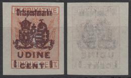 1918 - Austria Hungary KUK K.u.K Feldpost - Ortspostmarke WW1 War Military - UDINE - 1 C. - SASSONE 69 - Austrian Occupation