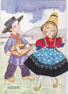 (34)  Auvergne - Carte Costume Tissu, - Auvergne