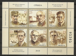 SERBIA  2018, First World War, History ,WW1, Famous People Health Medicine Doctors Red Cross Mission,BOOKLET,MNH - Sin Clasificación