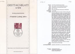Berlin 1978. Ersttagsblatt 6/1978 Friedrich Ludwig Jahn (6.079.20) - Briefe U. Dokumente