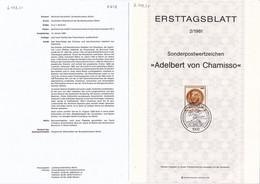 Berlin 1981. Ersttagsblatt 2/1981 Adelbert Von Chamisso (6.079.21) - Briefe U. Dokumente