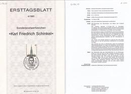 Berlin 1981. Ersttagsblatt 4/1981 Karl Friedrich Schinkel (6.079.23) - Briefe U. Dokumente