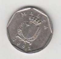 MALTE-  5 CENTS 1991 - Malta