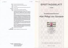 Berlin 1981. Ersttagsblatt 3/1981 Karl Philipp Von Gontard (6.079.22) - Briefe U. Dokumente