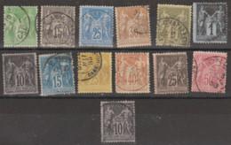 France N° 75 à 103 Ensemble De 13 Valeurs Oblitérées Voir Détail - 1876-1898 Sage (Type II)