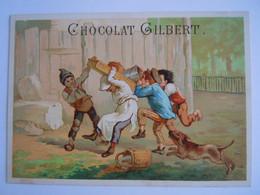 Chromo Chocolat Gilbert Cuesmes-lez-Mons Kinderen Dieven Enfants Voleurs Form 15,3 X 10,8 Cm Litho Gouweloos - Andere