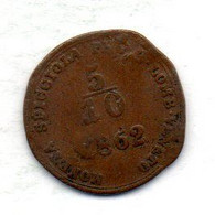 ITALIA - LOMBARDO-VENETO, 5/10 Soldo, Copper, Year 1862-B, KM #34.2 - Lombardie-Vénétie