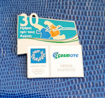 2004 Athens Olympic Games, Cosmote Sponsor Pin, 30 Days To Go Pin , Mascots Phevos And Athena Do Water Skiing. RARE!!! - Jeux Olympiques