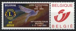 België 3182 - Duostamp - Lions International 2002 - Timbres Personnalisés