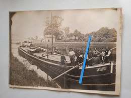 1900 1920 Oise Aisne Péniche Ventôse Batelerie Bateliers Transport Fluvial Mariniers  Photo - Professions