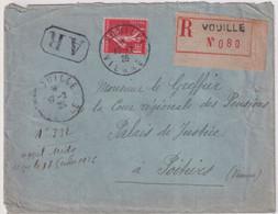 1926 - SEMEUSE YVERT N°195 RARE SEUL Sur LETTRE RECOMMANDEE AR De VOUILLE (VIENNE) - COTE MAURY 2009 = 60 EUR. - 1906-38 Semeuse Con Cameo
