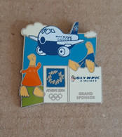 2004 Athens Olympic Games, Olympic Airlines Sponsor, Mascots With Airplane Pin. ΕΧΤΡΑ ΡΑΡΕ!!! - Jeux Olympiques
