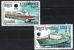 CAMBOGIA - 1988 - ESSEN '88 - NAVI: NAVE DA RICERCA E ALISCAFO - USATI - Cambodia