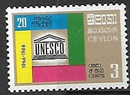 Ceylon/Sri Lanka   1966   Sc#396   3c UNESCO   MH   2016 Scott Value $4 - Sri Lanka (Ceylon) (1948-...)